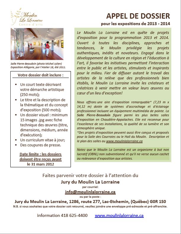 Appel de dossier 2013-2014 Moulin La Lorraine
