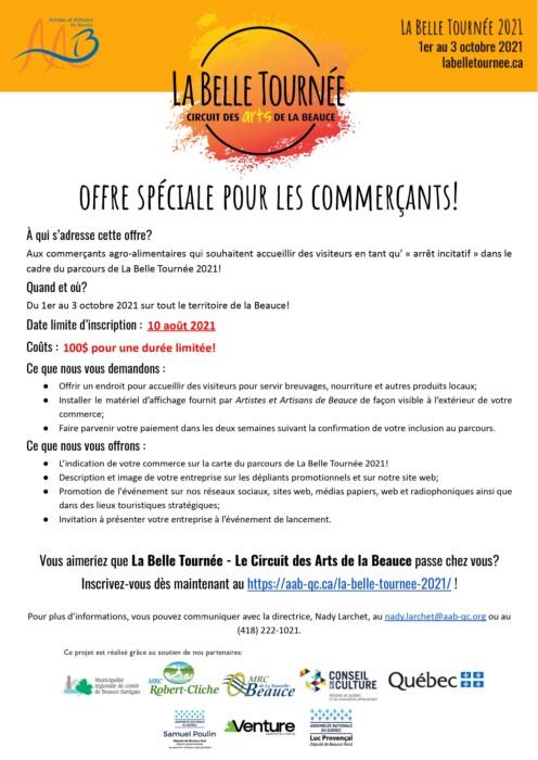 Affiche offre spéciale pour commerçants avec infos pertinentes et logo LBT