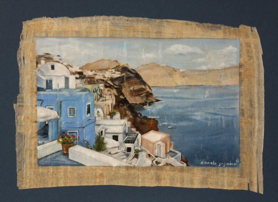 la-caldera-santorin-grece-10-x-14-po-sur-papyrus-vendu